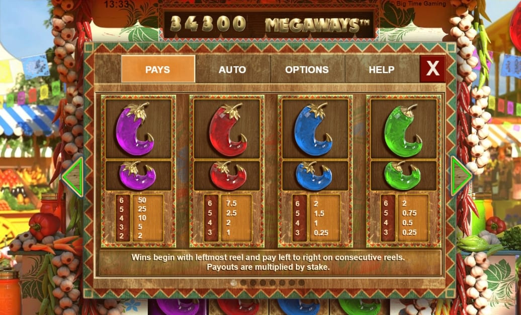 Extra Chilli Slot Paytable