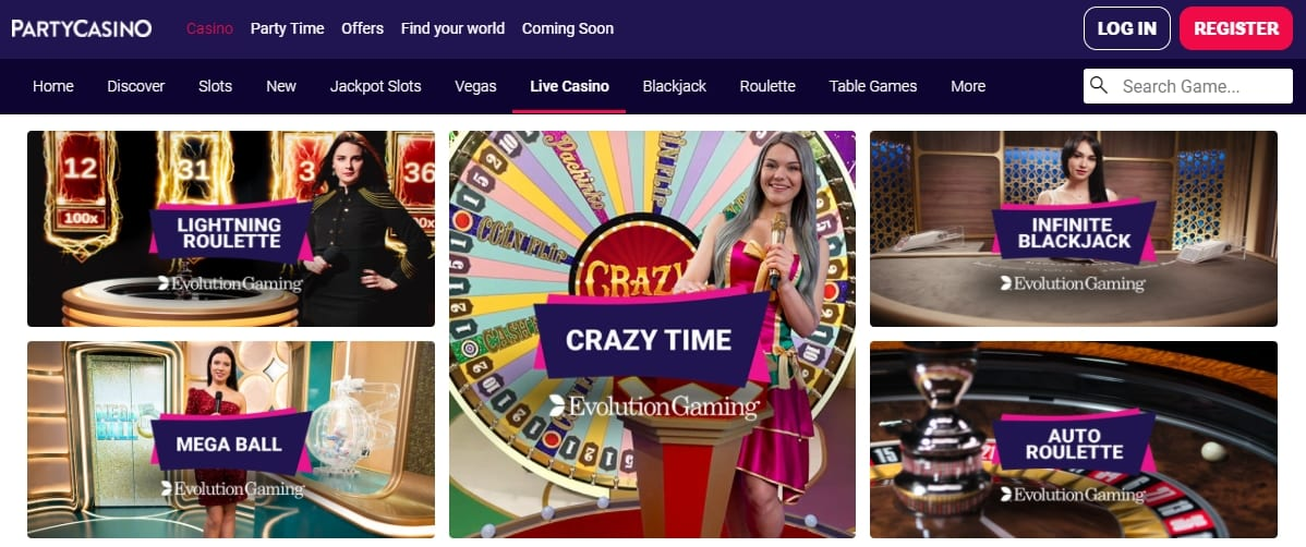 Party Casino Live Table Games