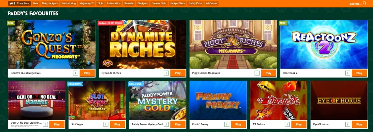 Paddy Power Casino Games