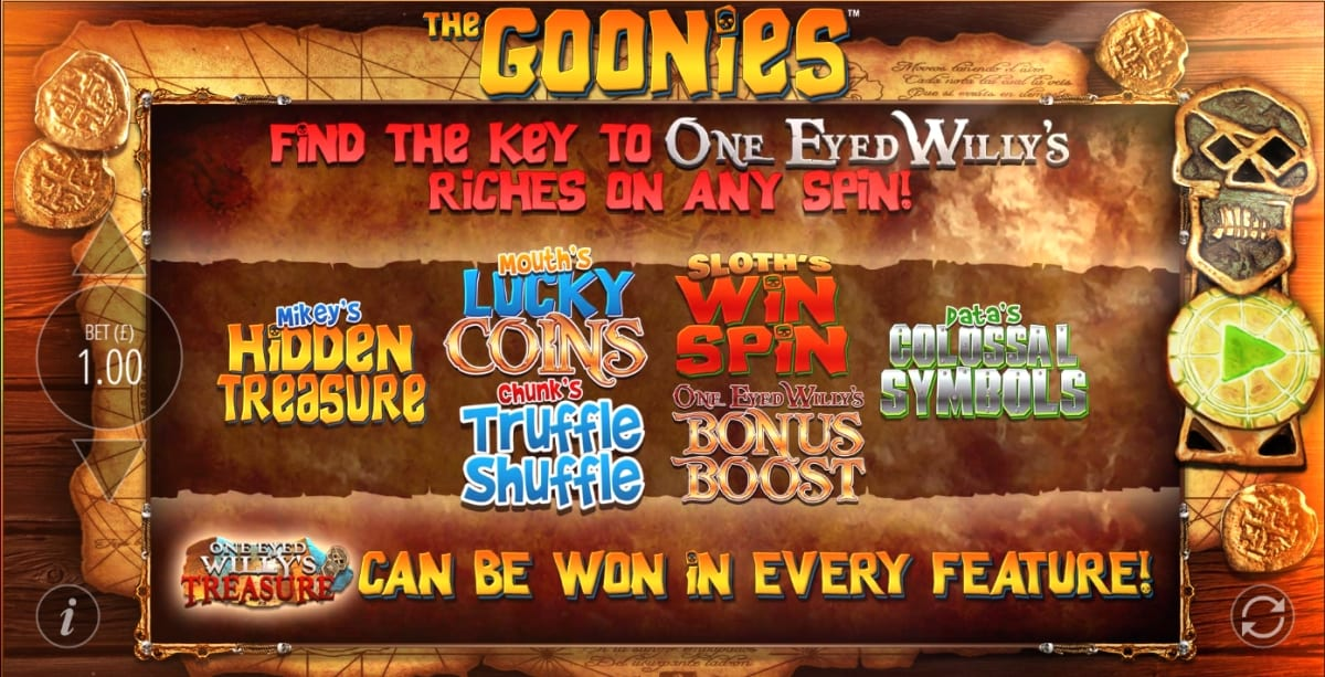 The Goonies Slot Features