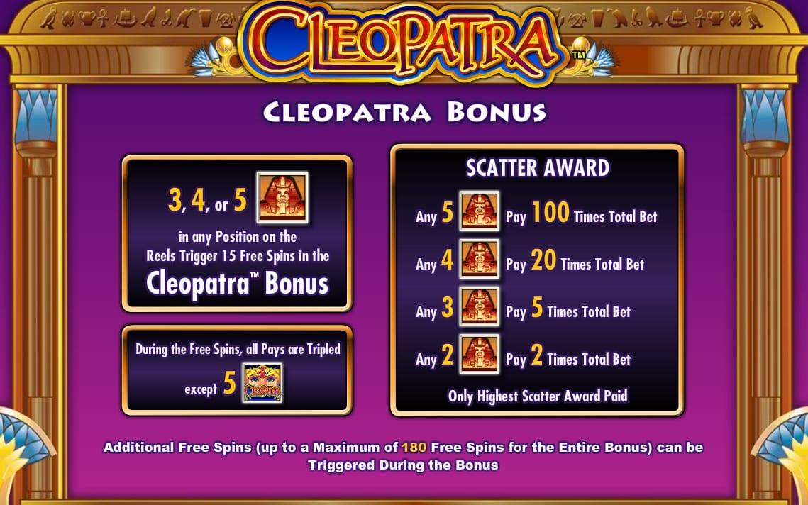 Cleopatra Slot Pay Table