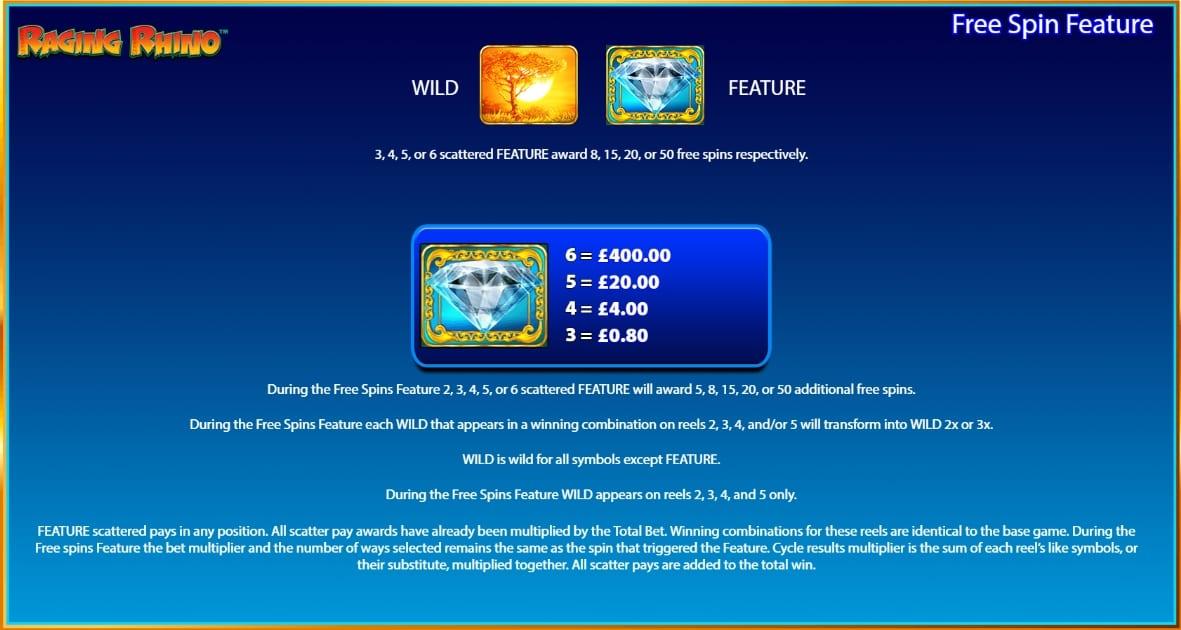 Raging Rhino Slot Paytable