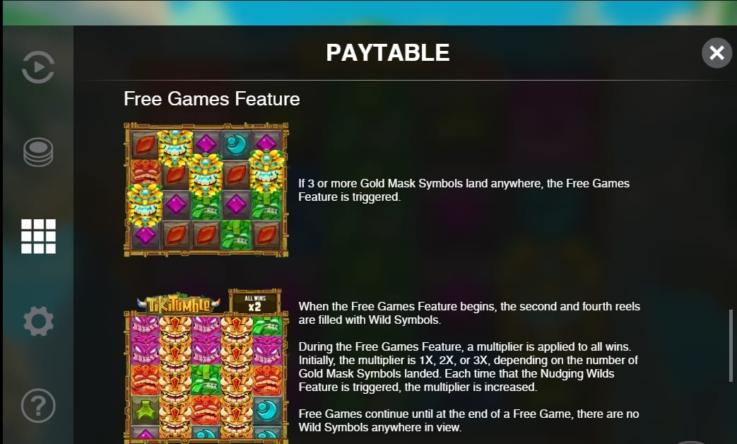 Tiki Tumble Slot Paytable