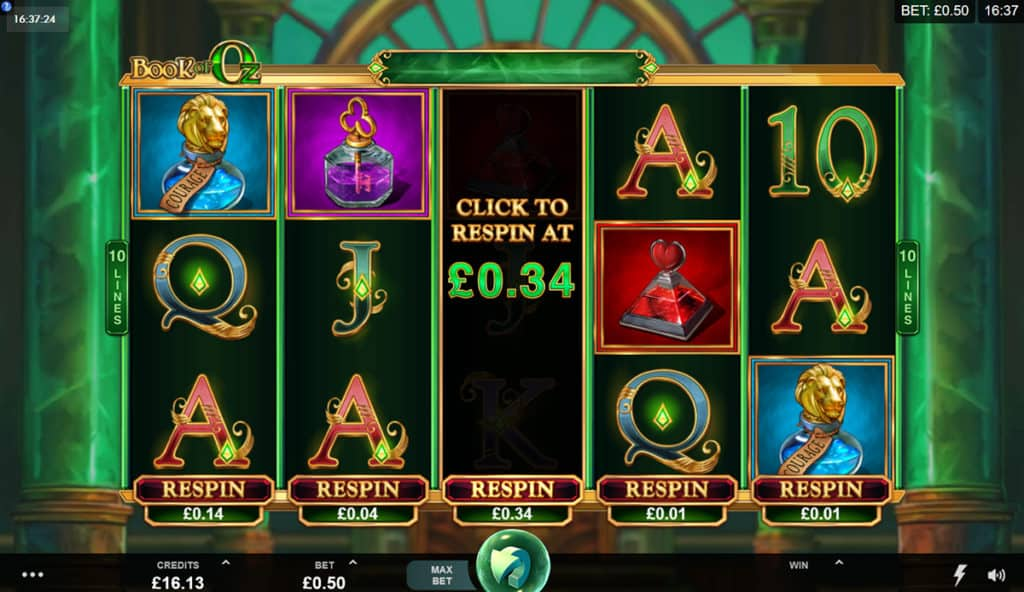 Book Of Oz Slot respin feature