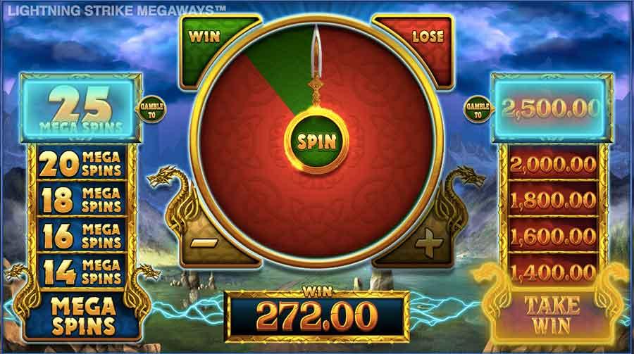 lightning strike megaways slot gamble feature