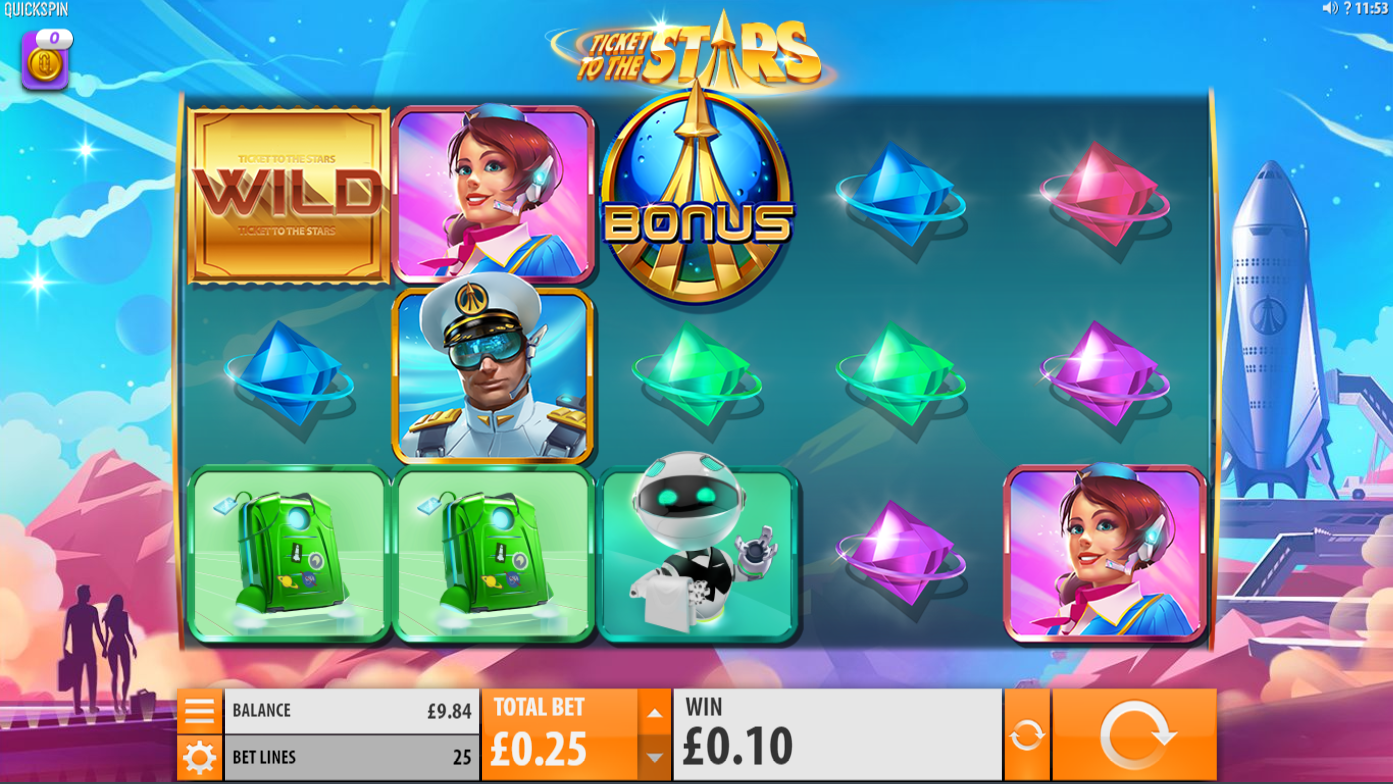 Ticket To The Stars Slot Gameplay