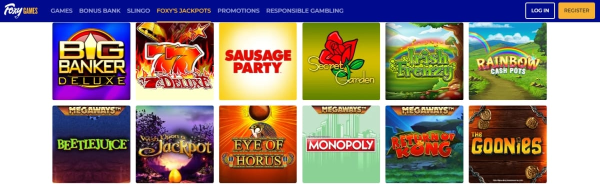 Foxy Games Casino Homepage