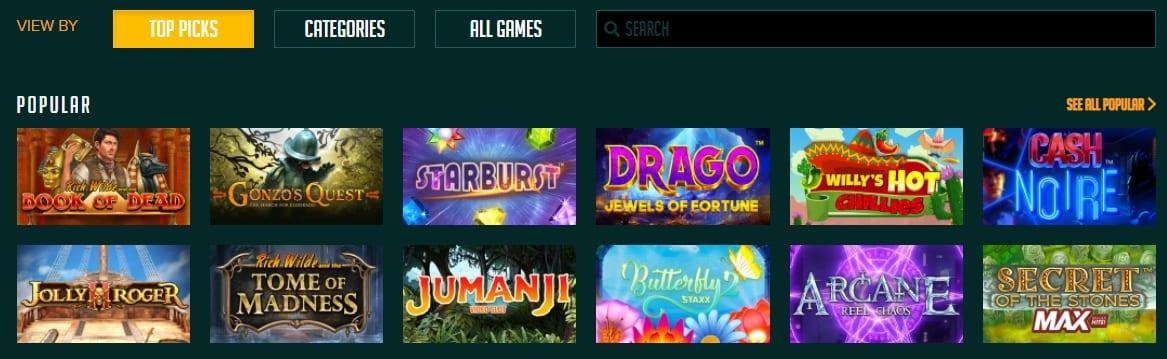Temple Slots Casino Homepage