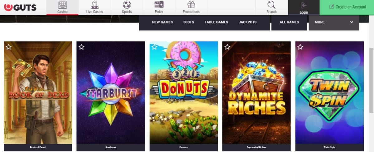 Guts Casino Slots And Games