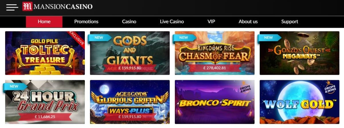 Mansion Casino Homepage