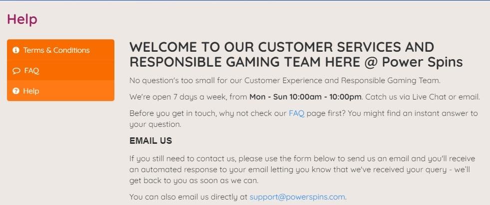 Power Spins Casino Support