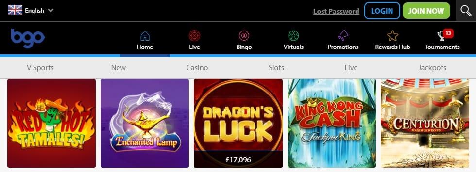 BGO Casino Homepage