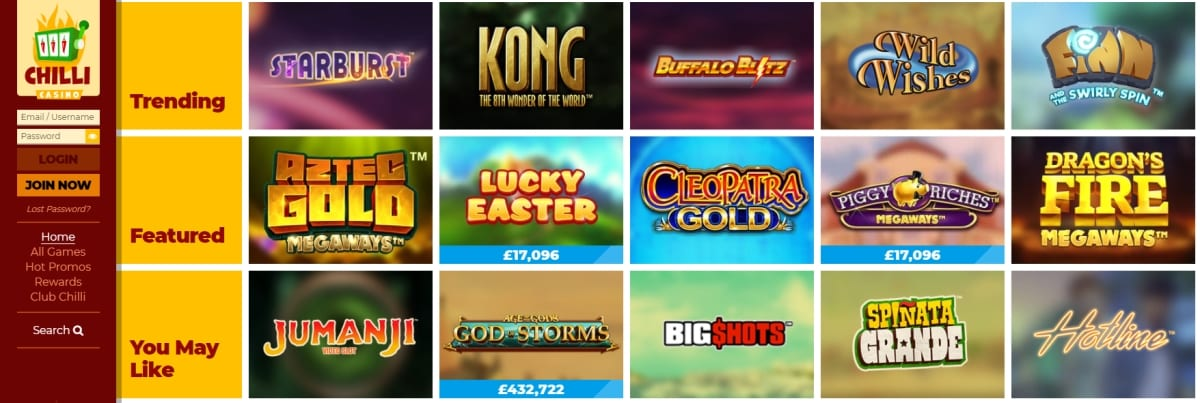 Chilli Casino Slot Games