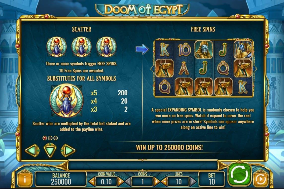 Doom of Egypt Slot Symbols