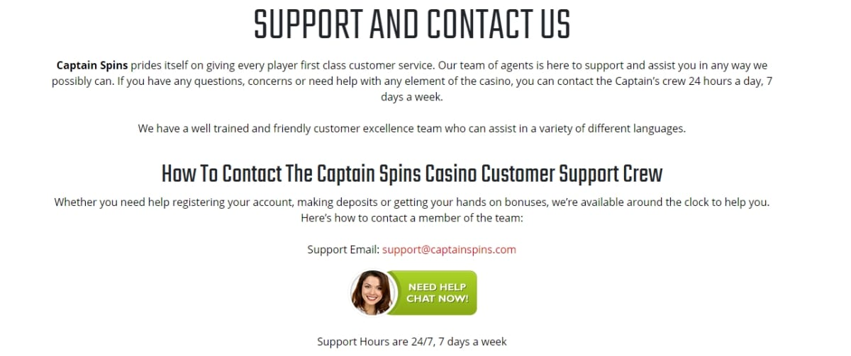 Captain Spins Casino Help And Support