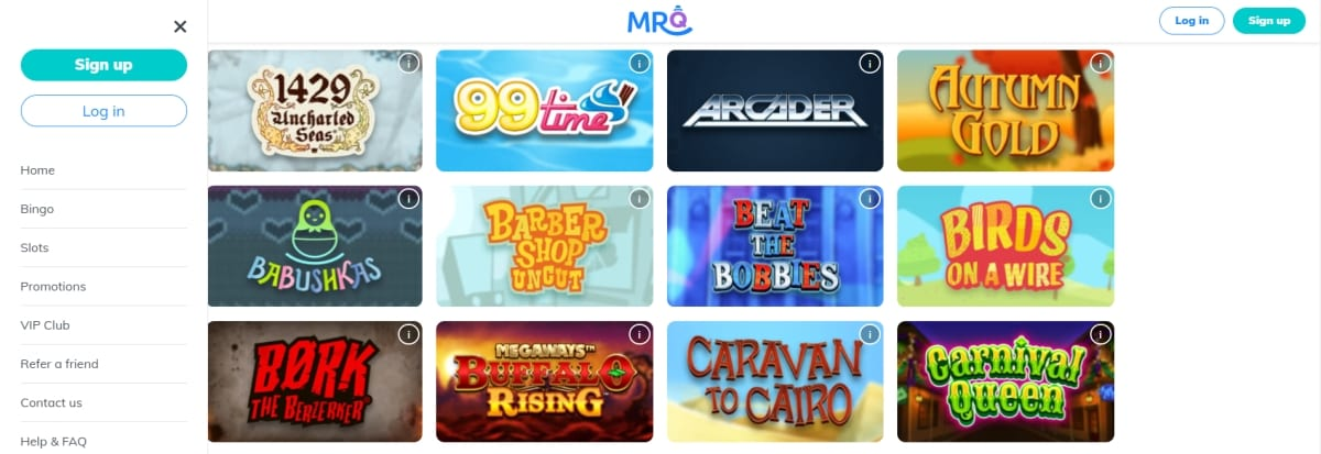Mr Q Casino Home Page