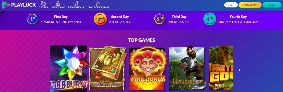 Playluck Casino Homepage