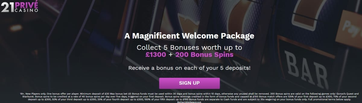 21 Prive Casino Welcome Offer