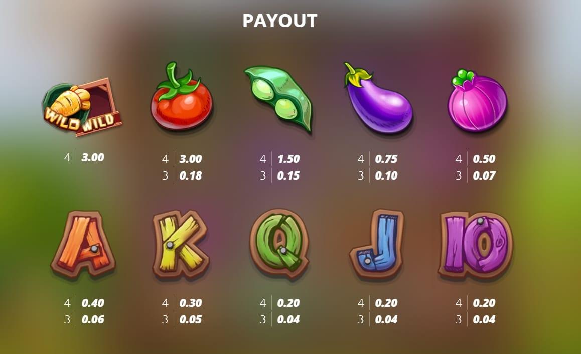 Bonus Bunnies Slot Pay Table