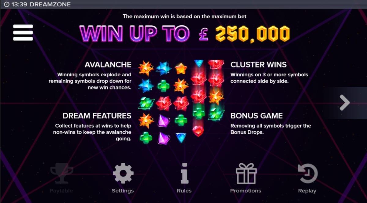 Dreamzone Slot Paytable