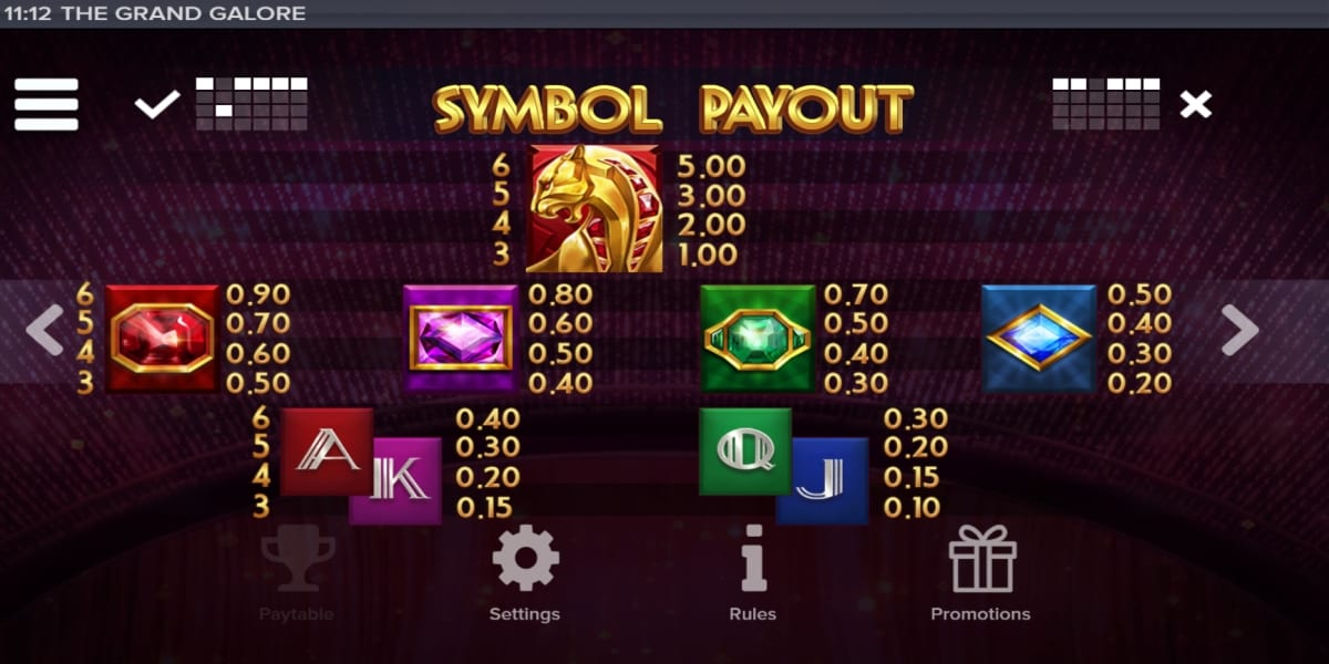 The Grand Galore Slot Paytable