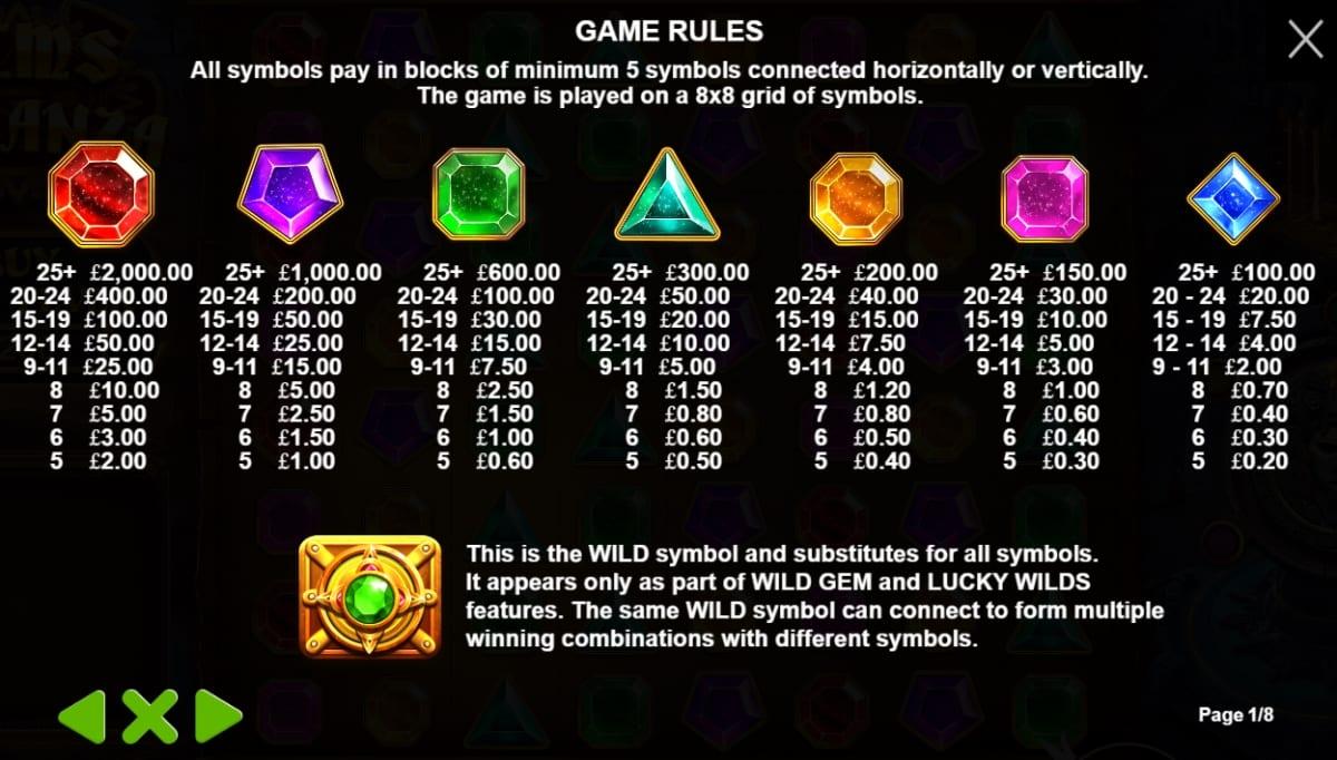 Gems Bonanza Slot Paytable