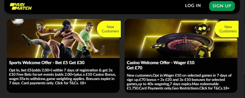 Parimatch Casino Welcome Offer