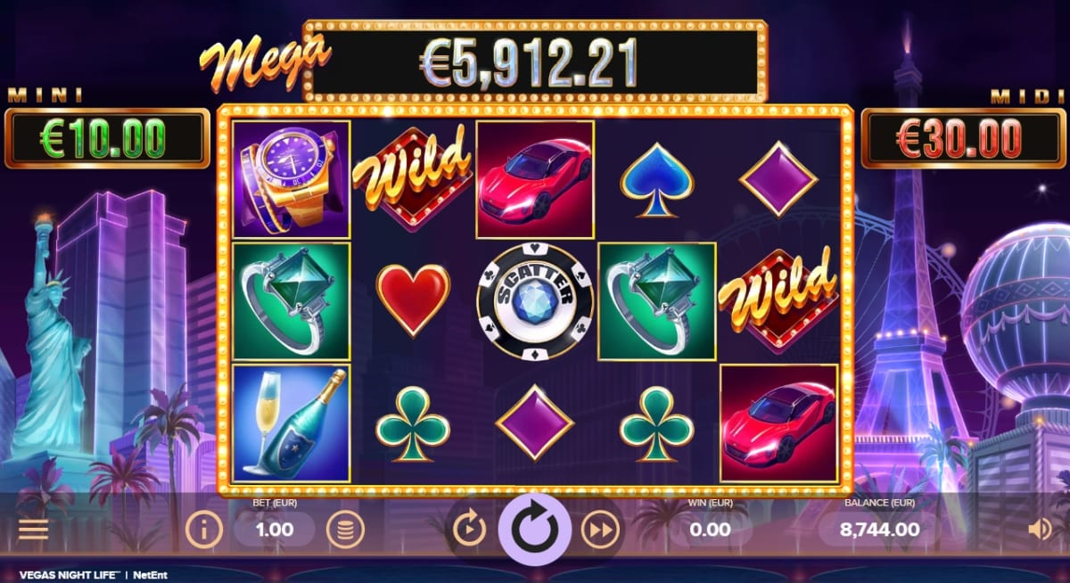 Vegas Night Life Slot Gameplay