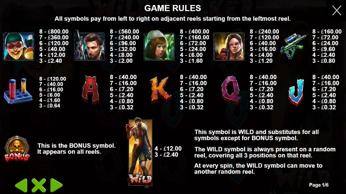 Wild Walkers Slot Paytable