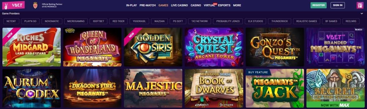 VBet Casino Homepage