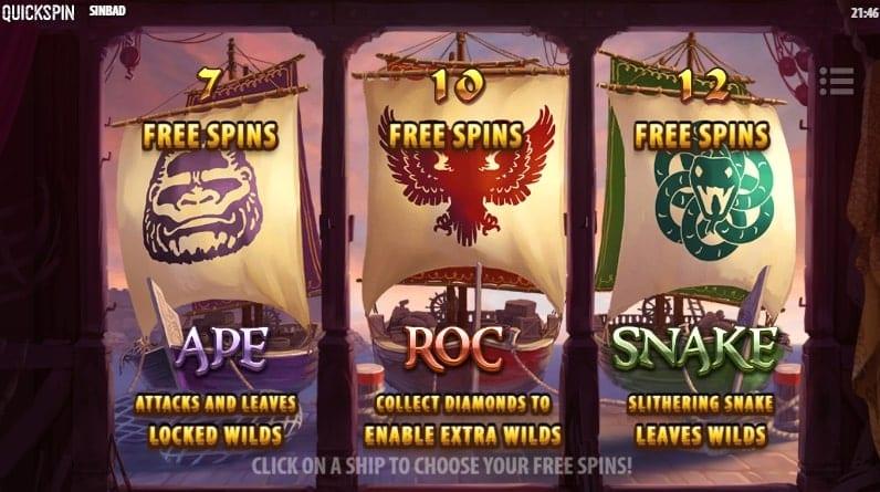 Sinbad Slot Free Spins