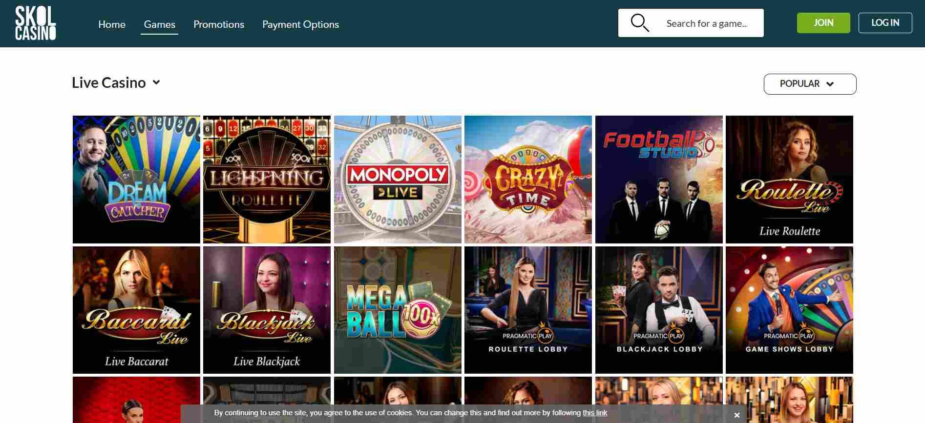 Skol Casino on Desktop