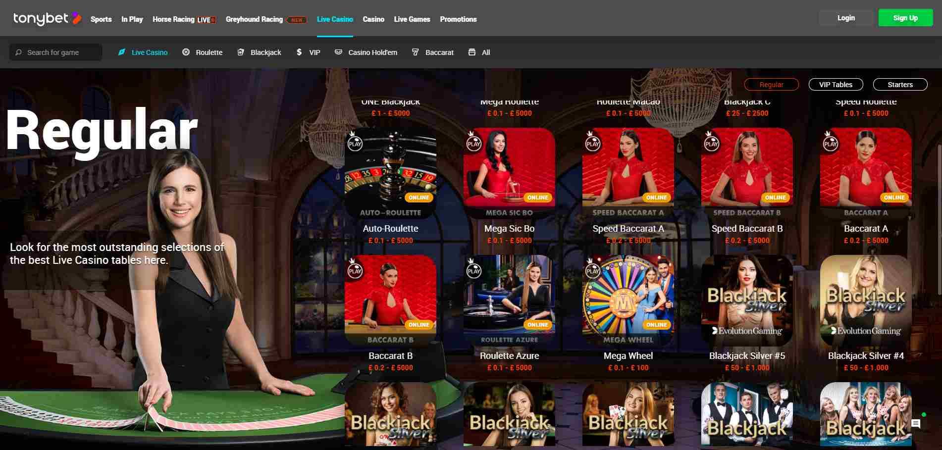 Tony Bet Live Casino