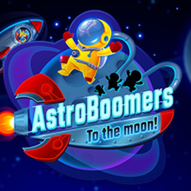 Astro Boomers to the Moon game logo