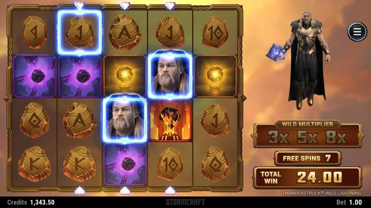 Thunderstruck Wild Lightning Slot Gameplay