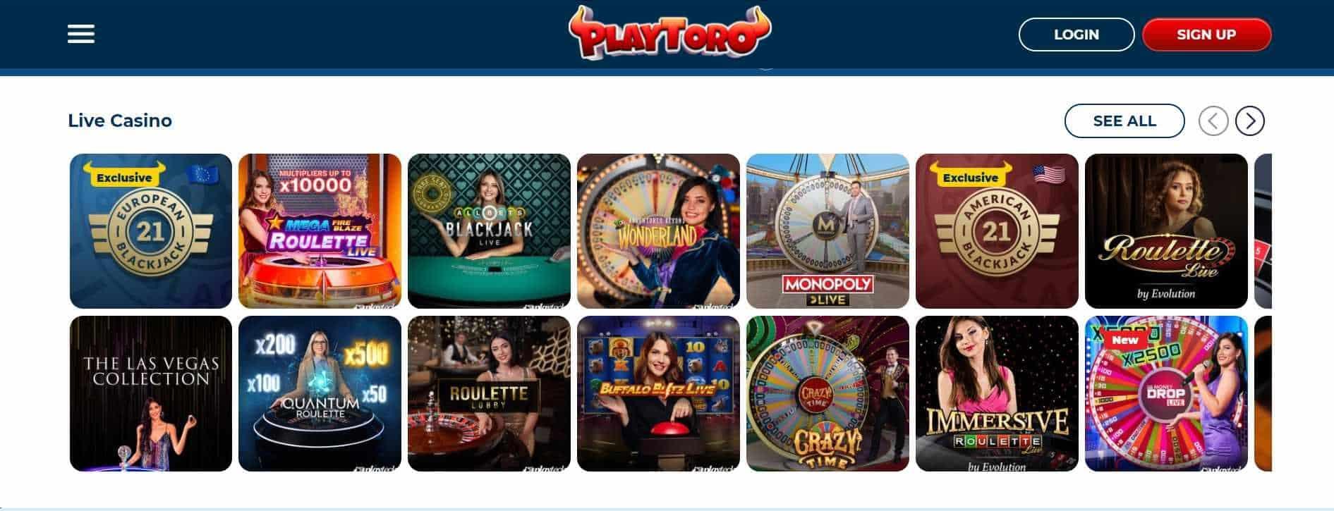 PlayToro Casino Live Casino
