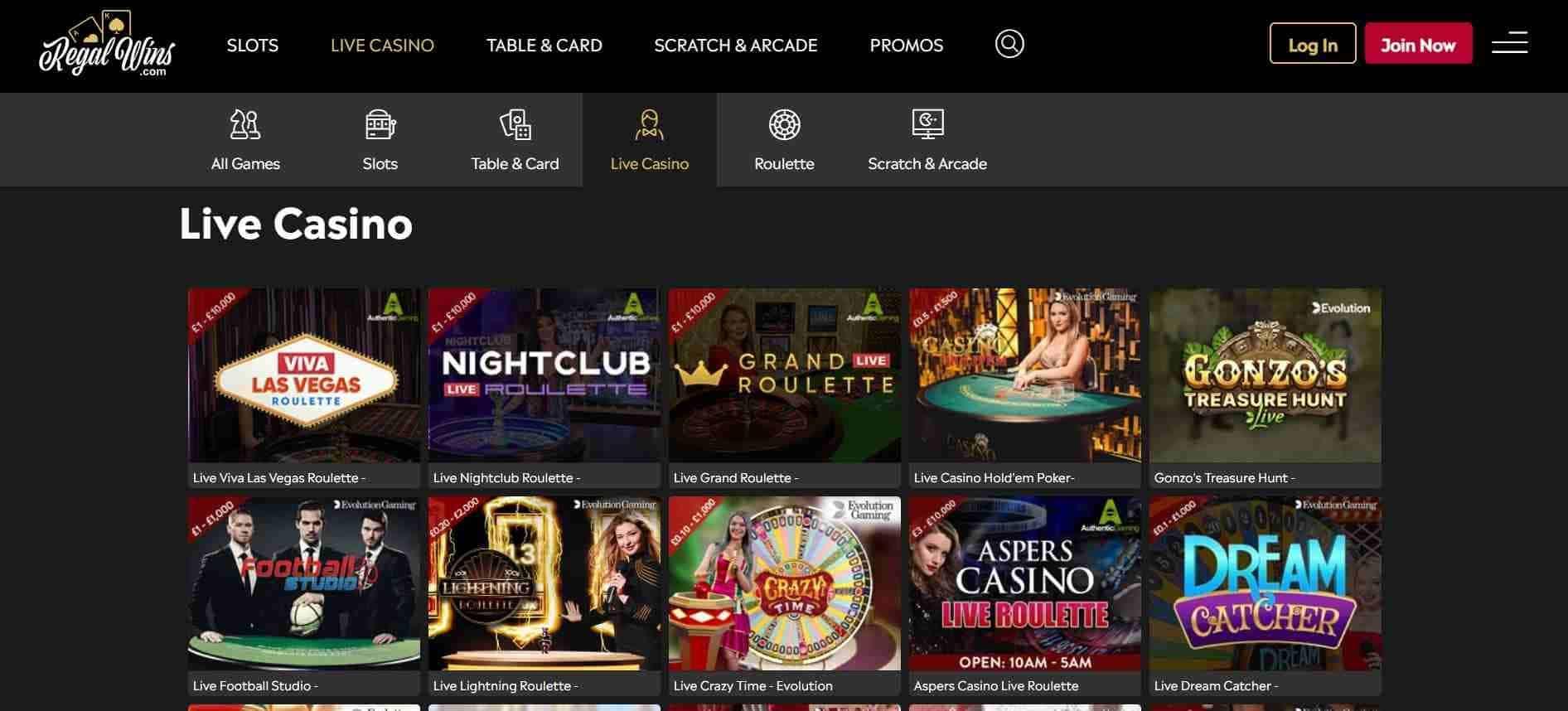 Regal Wins Casino Live Casino