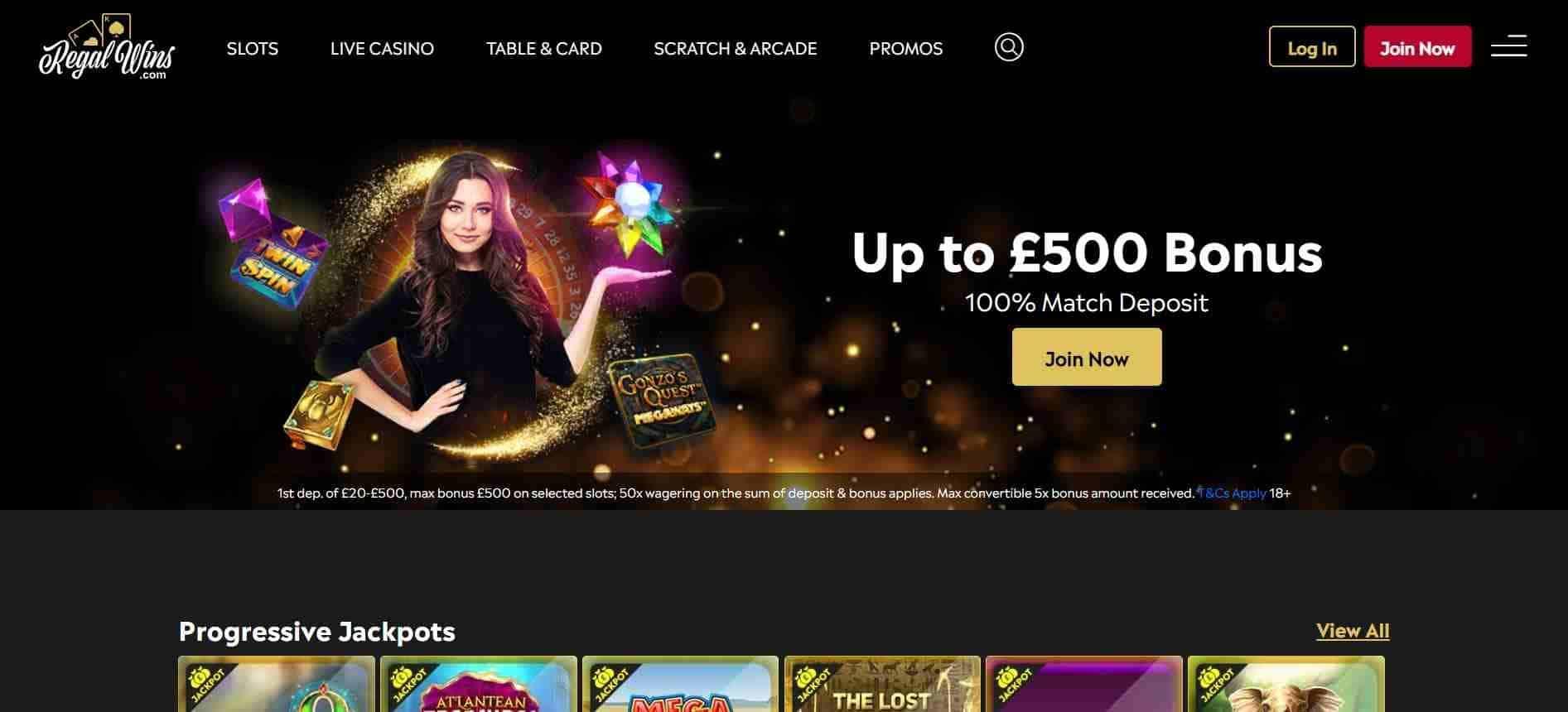 regal wins casino home page