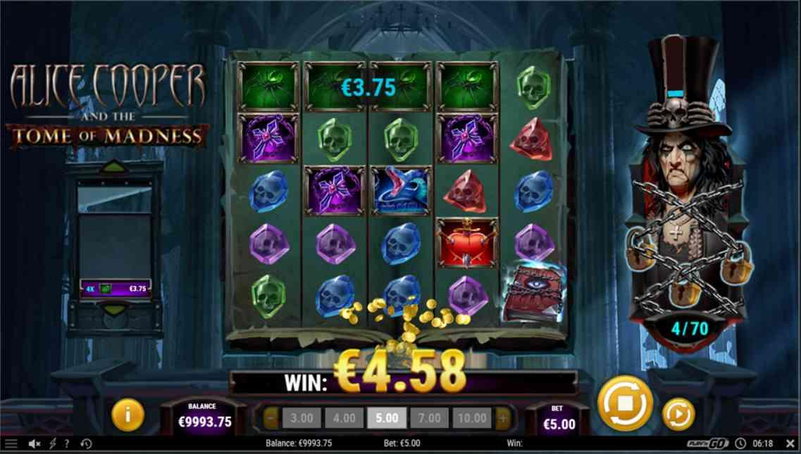 Alice Cooper and the Tome of Madness Slot Gameplay