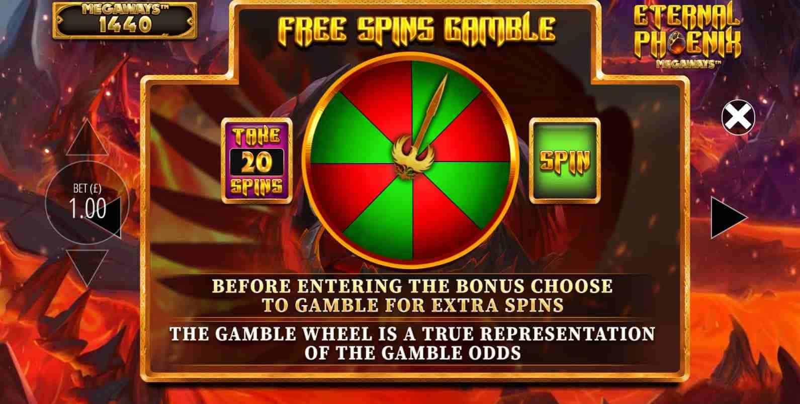 Eternal Phoenix Megaways Gamble Wheel