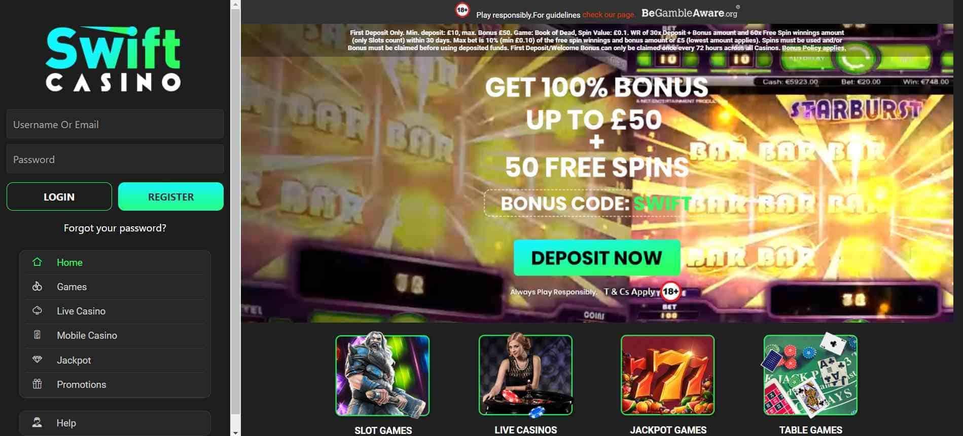 Swift Casino Home Screen