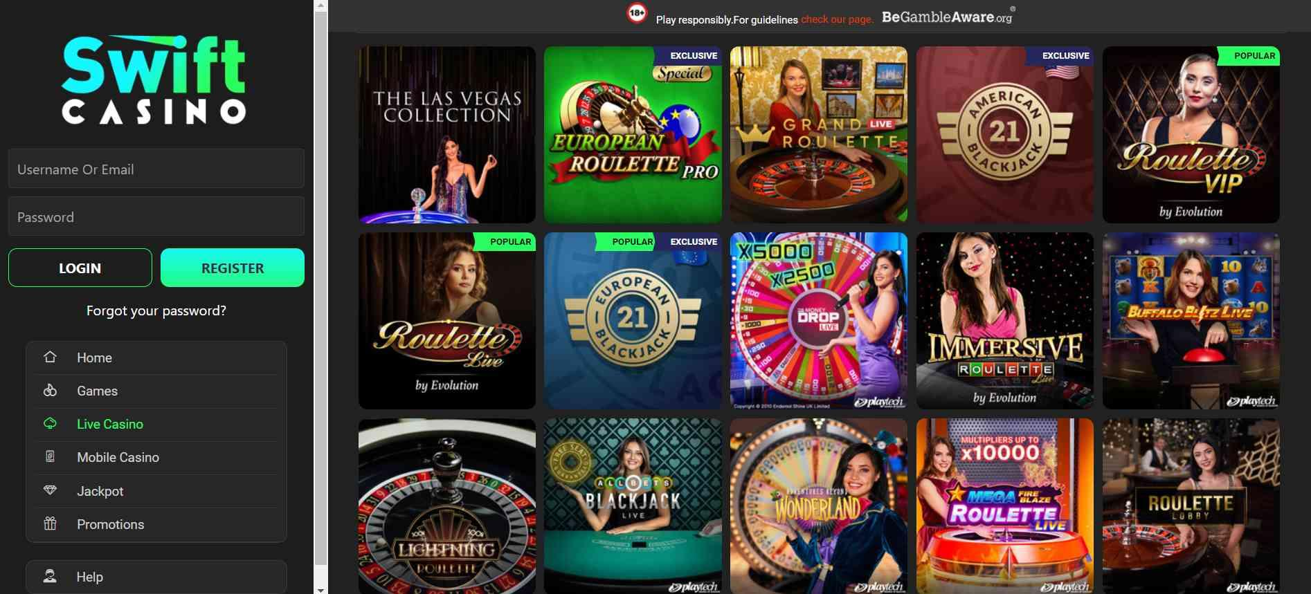 Swift Casino Live Casino Selection