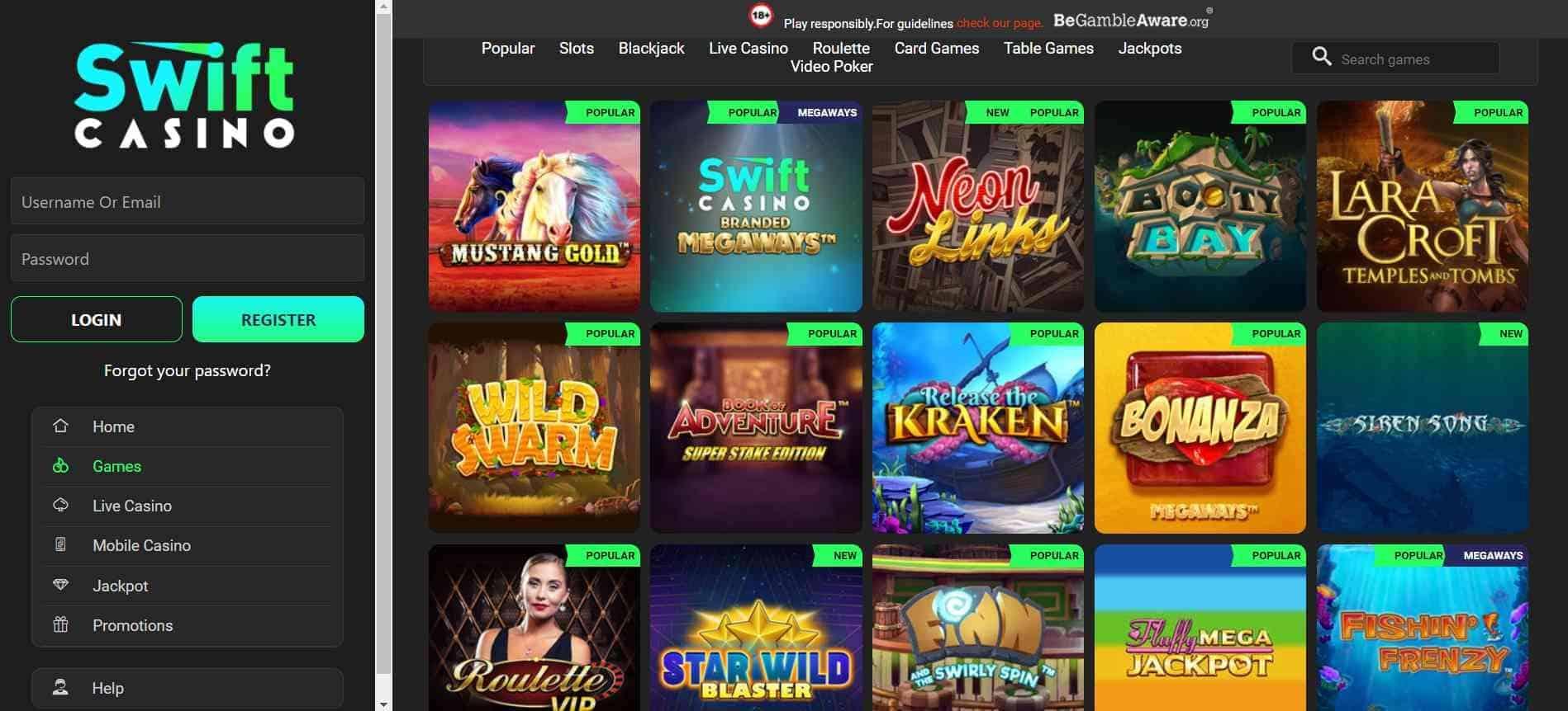 Swift Casino Slot Selection