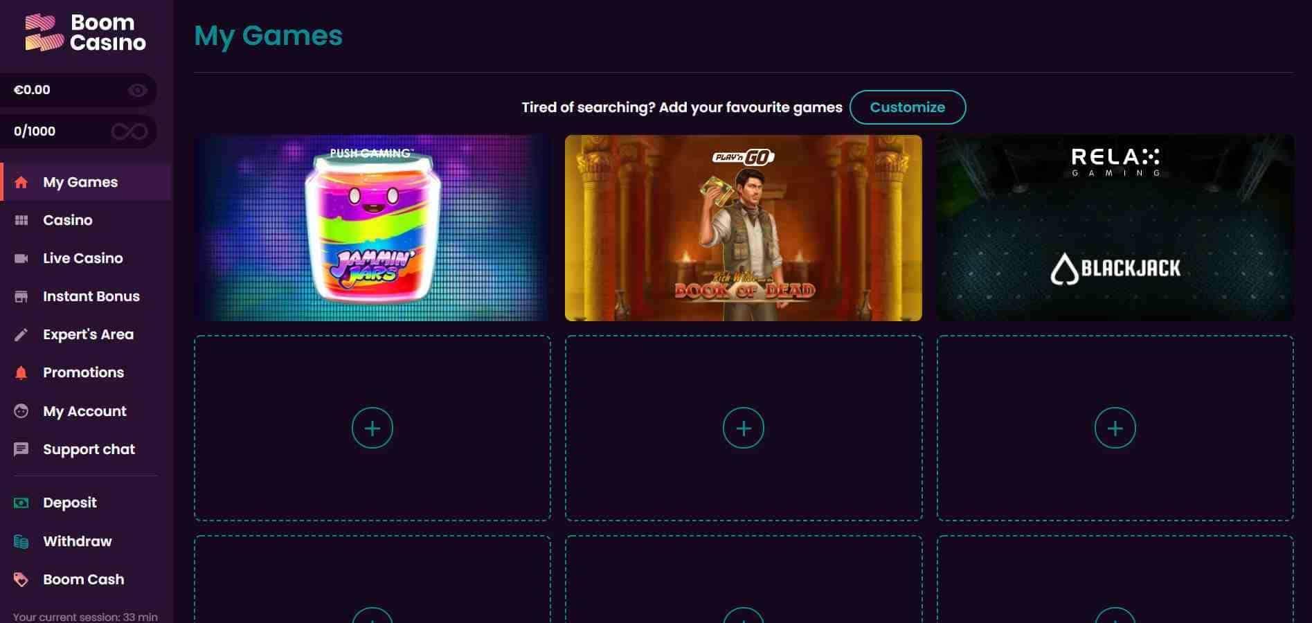 Boom Casino Home Page