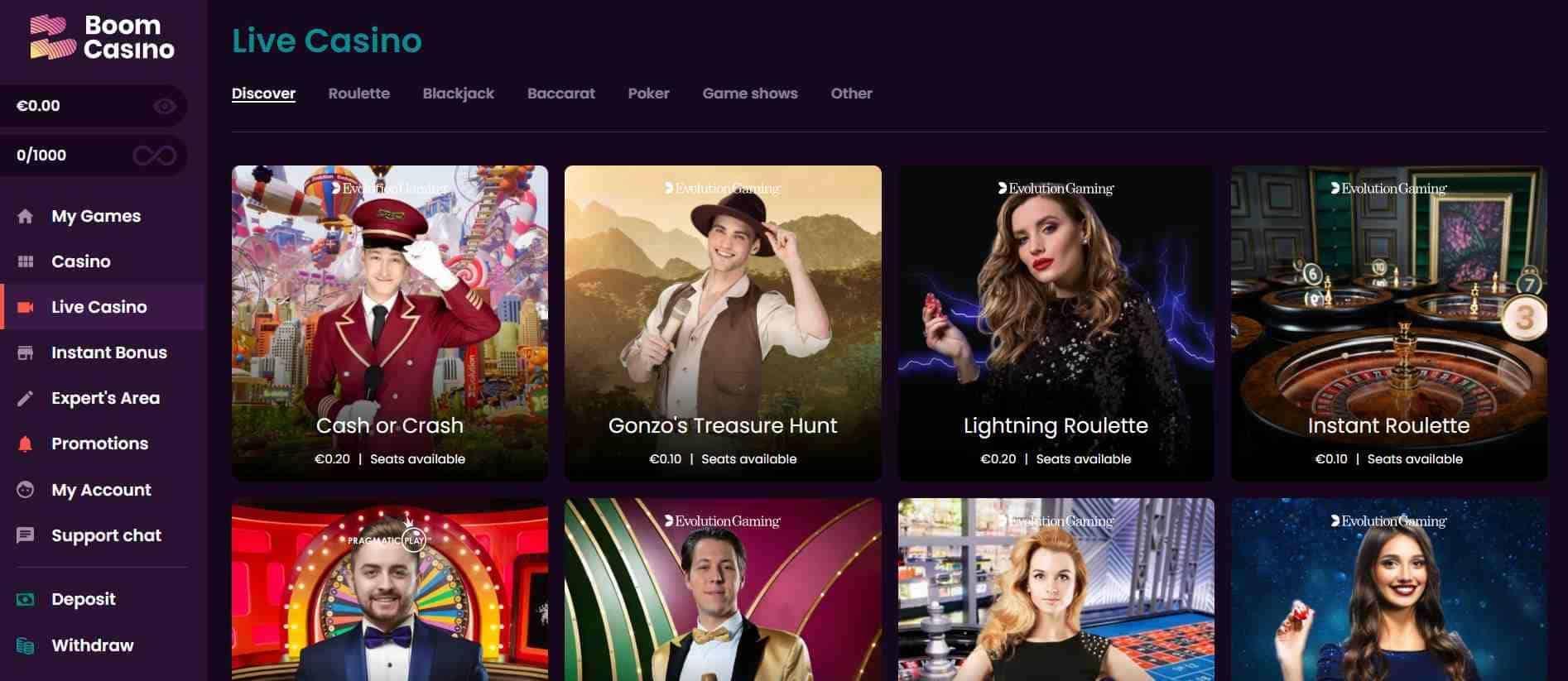 Boom Casino Live Casino