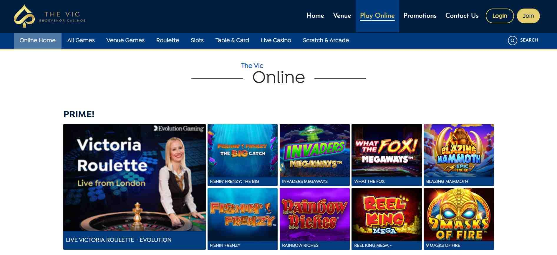 The Vic Casino Home Page