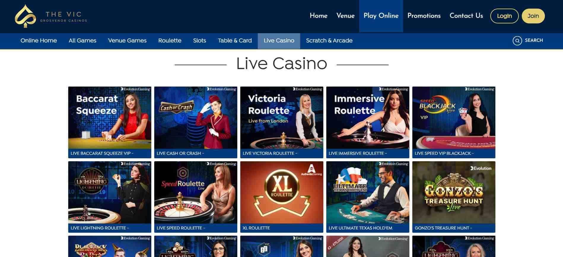 The Vic Casino Live Casino
