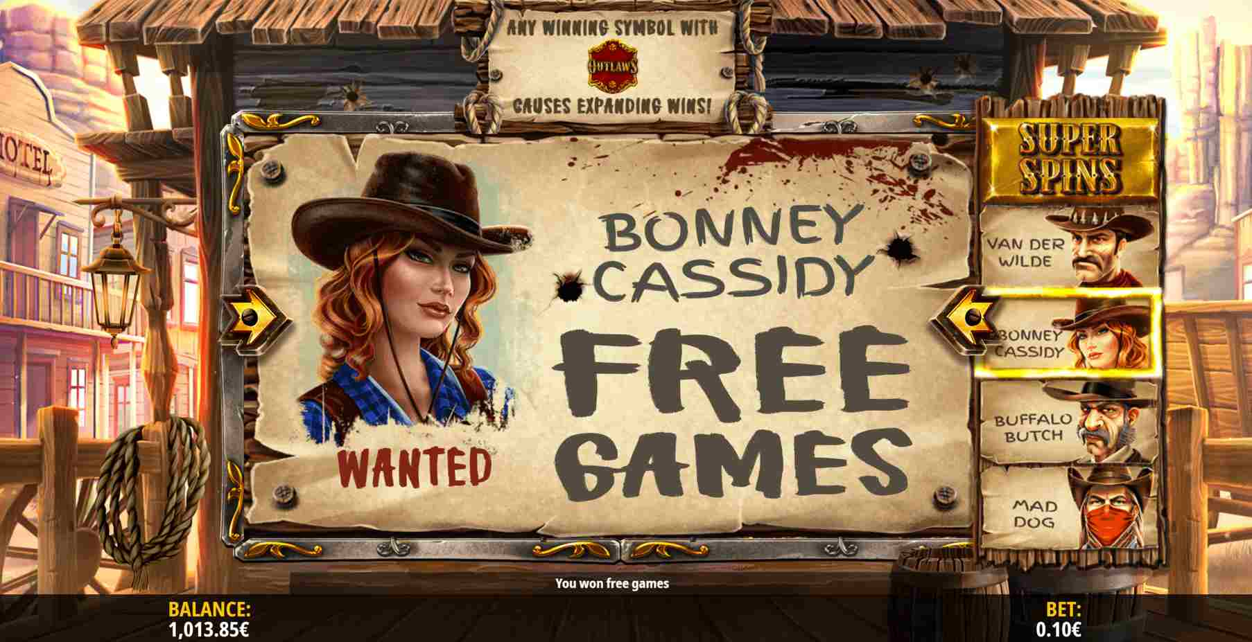 Van der Wilde and The Outlaws Free Spins Reel