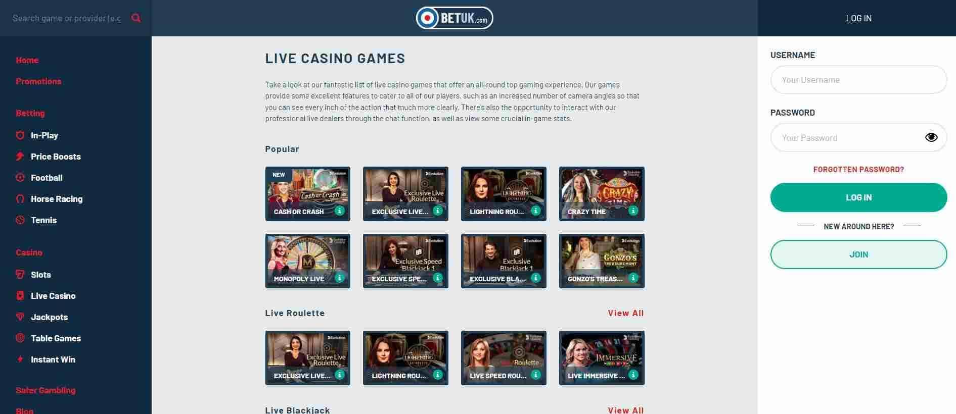 BET UK Live Casino