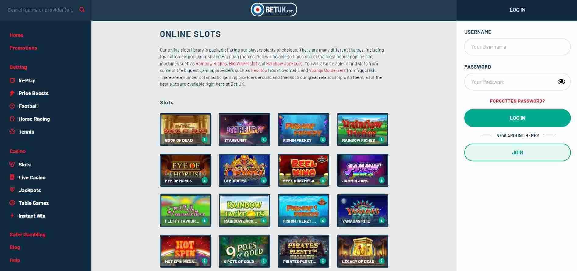 Bet UK Casino Slots
